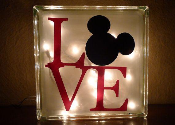 Disney Mickey Mouse Love Glass Night Light