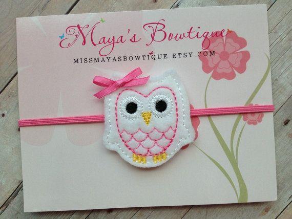 White and Pink Owl Headband - Owl Headband - Baby Headband - Newborn Headband - Infant Headband. $5.00, via Etsy.