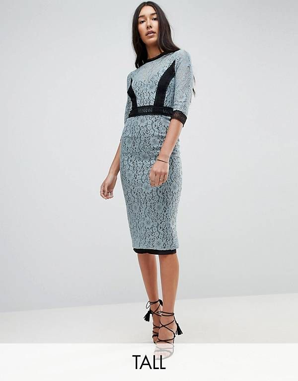Little Mistress Tall Lace Midi Pencil Dress With Contrast Panel ... 0de95c92a5