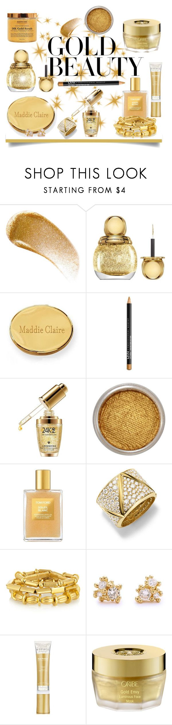 """""""Gold Beauty"""" by patricia-dimmick on Polyvore featuring beauty, BBrowBar, Christian Dior, Mark & Graham, NYX, Suva Beauty, Tom Ford, Marina B, Philippe Audibert and Ruth Tomlinson"""
