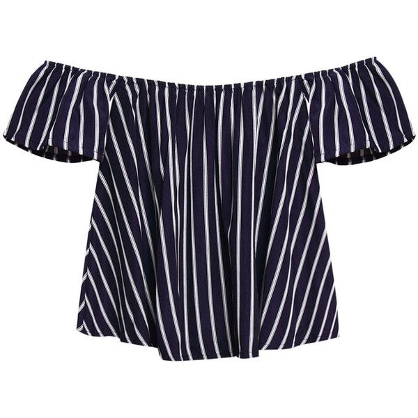 Yoins Off Shoulder Stripe Pattern Top (230 MXN) ❤ liked on Polyvore featuring tops, yoins, shirts, navy, blue stripe shirt, navy blue shirt, navy shirt, blue short sleeve shirt and off shoulder shirt