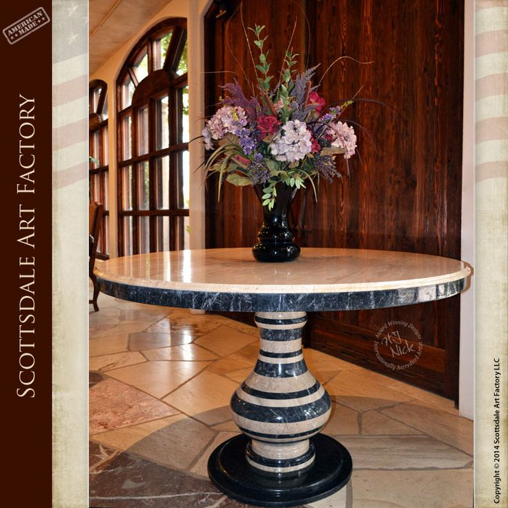 Genuine stone table for your dining room or entrance features marble and travertine stone hand crafted by master level masons at Scottsdale Art Factory