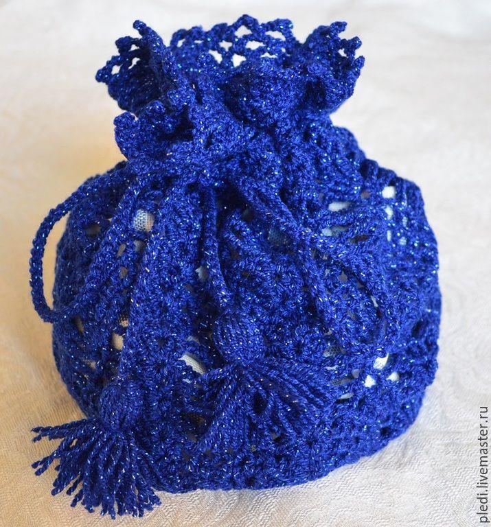 Купить Мешочек для подарка - темно-синий, упаковка для подарка, упаковка подарочная, упаковка для украшений