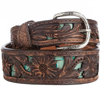 Brown & Turquoise Belt with Tooling by Double J Saddlery Belt wit JB on tip