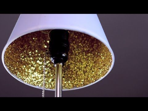 DIY video tutorial: glitter lampshade Simple DIYs. Featured in the best of September 2013 DIY lamp roundup on ilikethatlamp.com!