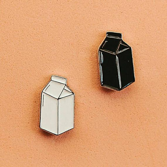 Black milk box soft enamel pin. 18mm * 10mm Butterfly clasp pin back. Extra rubber clutch. Also available in white color. SHIPPING TIME: Your order will be packaged within 2 - 6 days. Shipping to Europe usually takes between 2 - 4 weeks. Shipping worldwide might take between 2 - 7