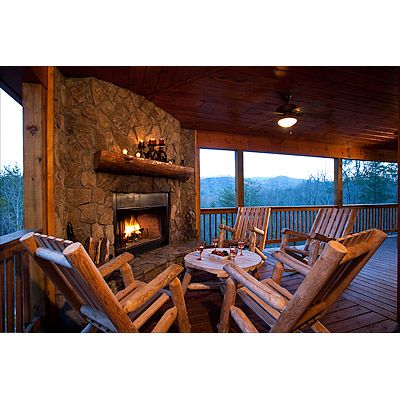 cabin with outdoor fireplace in blue ridge, ga