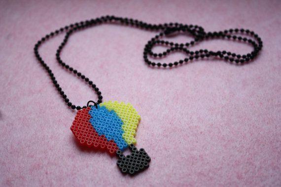 Hot air balloon mini hama bead necklace by MyLittleOslo on Etsy, $9.05