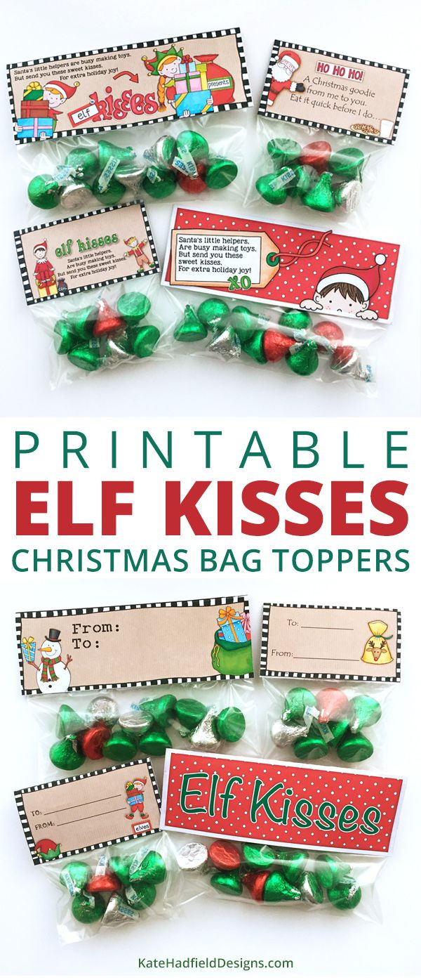 picture about Christmas Bag Toppers Free Printable named Totally free Elf Kisses bag toppers Xmas Topic Xmas