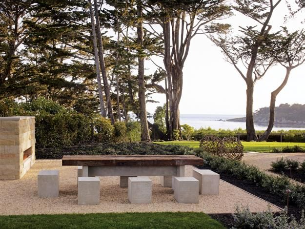 Outdoor dining area, Pebble Beach, California, designed by Andrea Cochran  with Pacific Peninsula Group