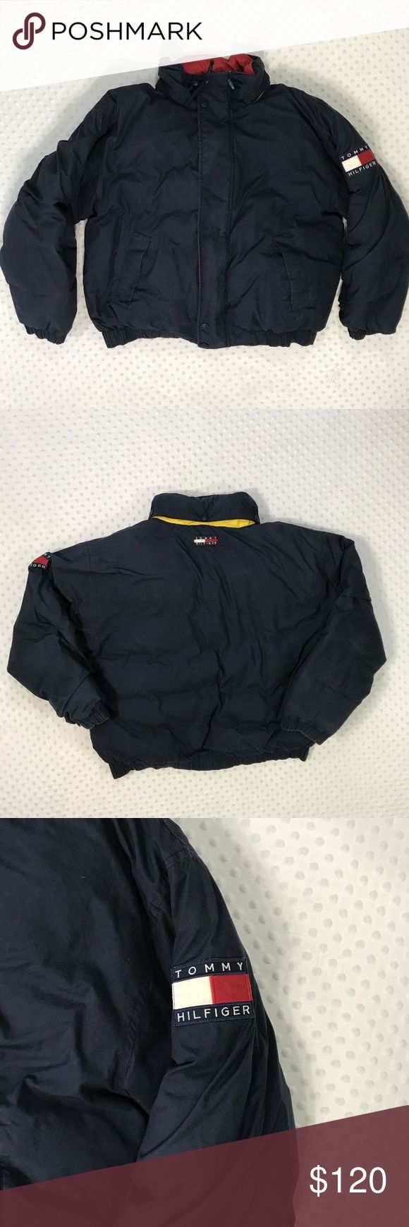 Vintage Tommy Hilfiger Flag Patch Men's X Large Item: Vintage Tommy Hilfiger Blue Puffer Down Jacket Flag Patch Men's Size X Large Size: X Large Refer to measurements below for accurate fit! Measured flat:  28       inches armpit to armpit 22       inches armpit to the end of the sleeve 28       inches from collar seam to shirttail        Base Color:  Blue  Fabric: Cotton, Nylon, Down, Feather Tommy Hilfiger Jackets & Coats