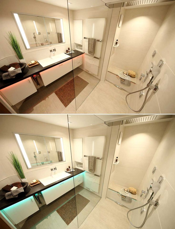 zwei berblicksfotos vom bad zeigen dass die led lichtbnder unterhalb der waschtischplatte und bei - Luxus Hausrenovierung Installieren Perfekte Beleuchtung