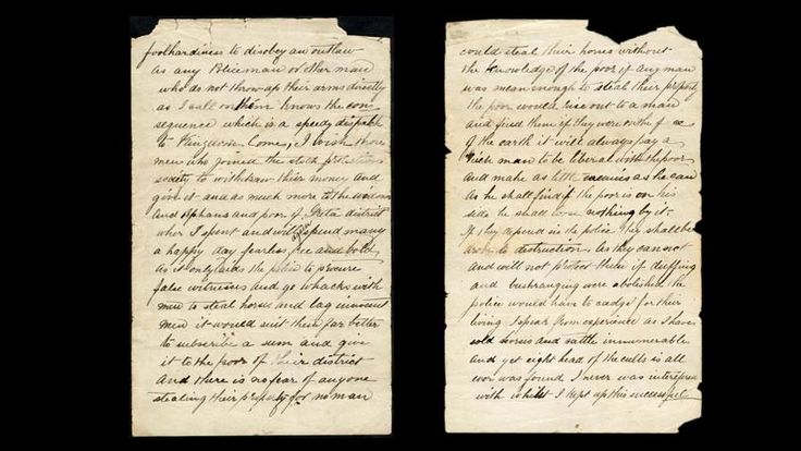 (Letter) The Jerilderie Letter by bushranger Ned Kelly. 'I am a Widow's Son, outlawed and my orders must be obeyed'. With these chilling words Ned ended the letter, a detailed written justification of his actions. Read the full transcription of the letter and learn why this manifesto is regarded by some as an early call for an Australian republic. http://www.nma.gov.au/collections/collection_interactives/jerilderie_letter