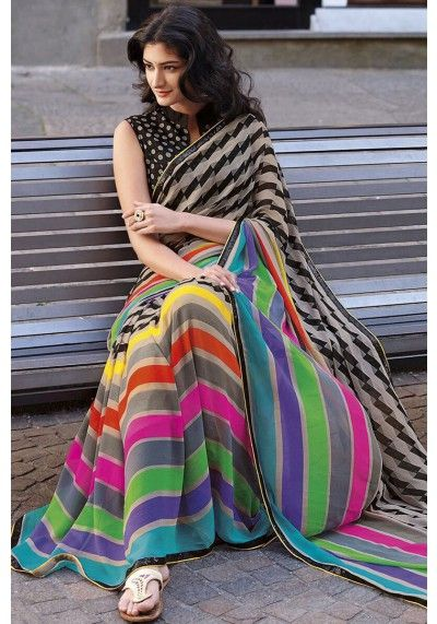 Liver Gray Faux #Georgette Printed #Casual #Saree Sku Code: 27-4933SA50618 US $40.00 http://www.sareez.com/text.html  #StripSaree