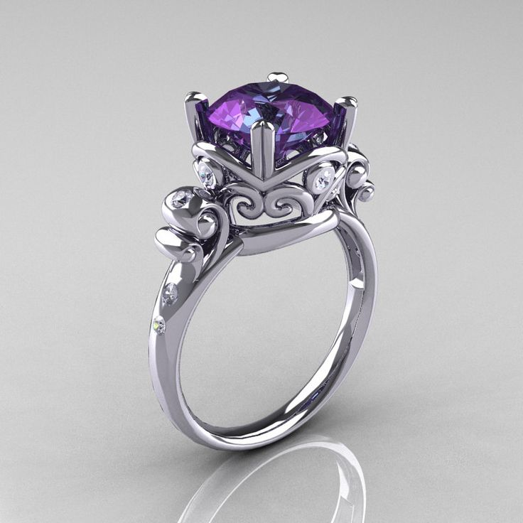 Modern Vintage 14k White Gold 3 0 Carat Russian Alexandrite Diamond Wedding Engagement Ring R167 14kwgdal