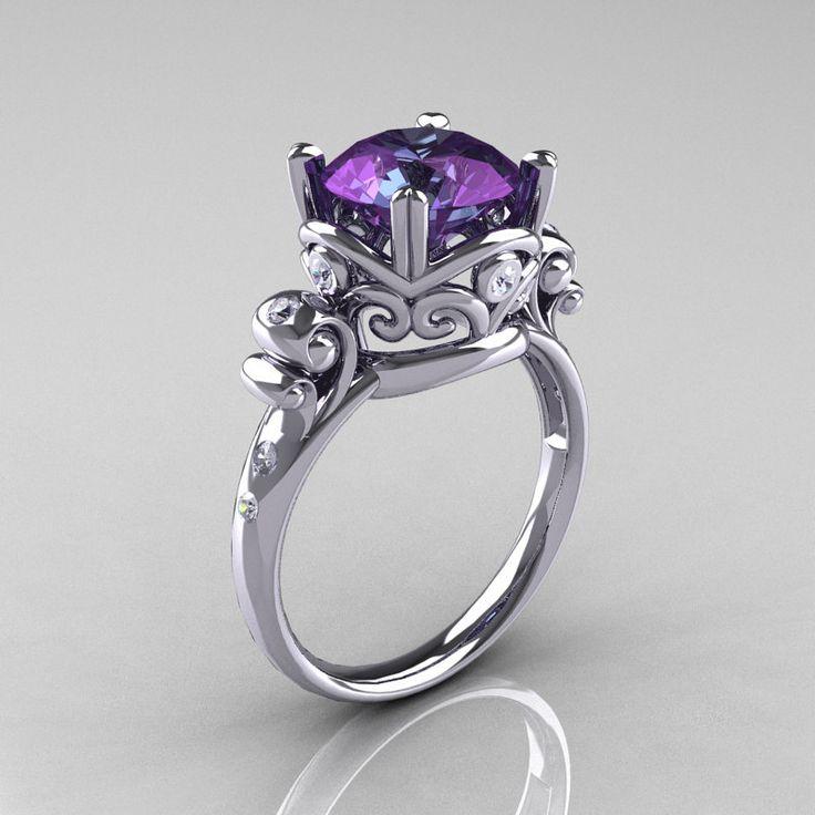 Modern Vintage 14K White Gold 3.0 Carat Russian Alexandrite Diamond Wedding, Engagement Ring R167-14KWGDAL