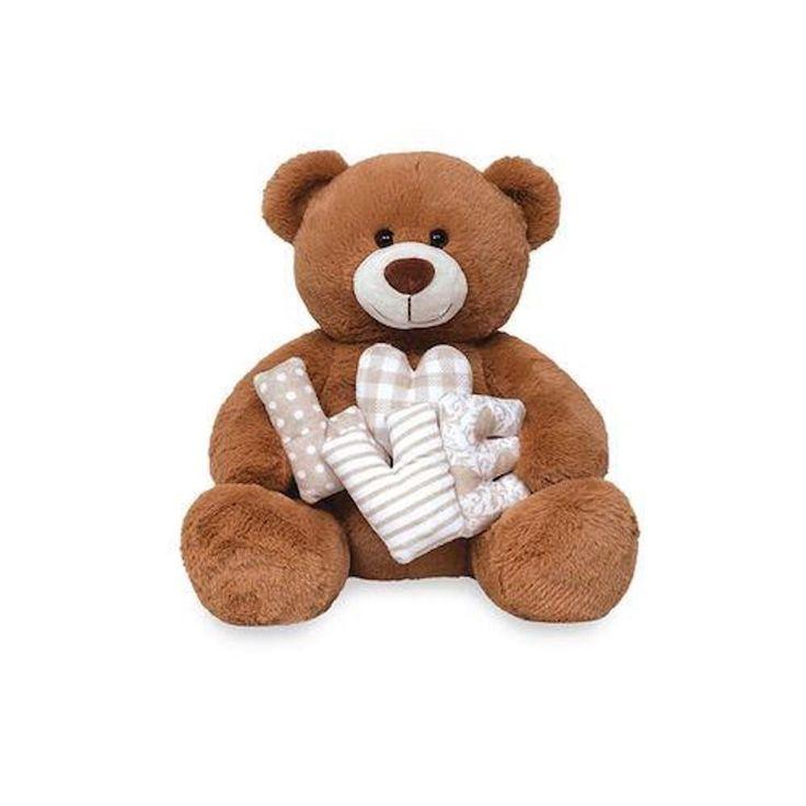 Urso de Pelúcia - Love Patch G - Bege - Ideal para demonstrar o seu amor e encantar a pessoa amada
