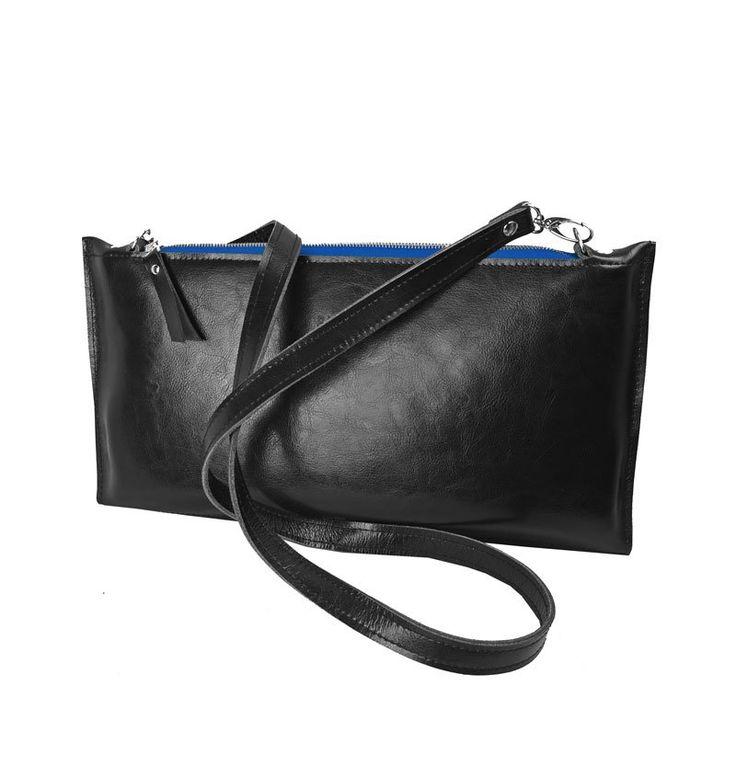CZARNA SKÓRZANA KOPERTÓWKA niebieski zamek (sprzedawca: purol design), do kupienia w DecoBazaar.com #clutchbag #leather #bag #black #blue