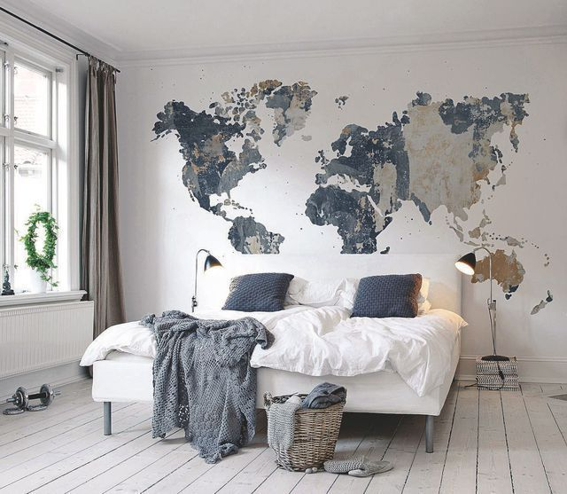 Love that the grey/blues are the same and that it's so minimal. I would need some kind of side table/shelf though. I like that the map is so big and covers the whole wall. Bed looks really comfy.