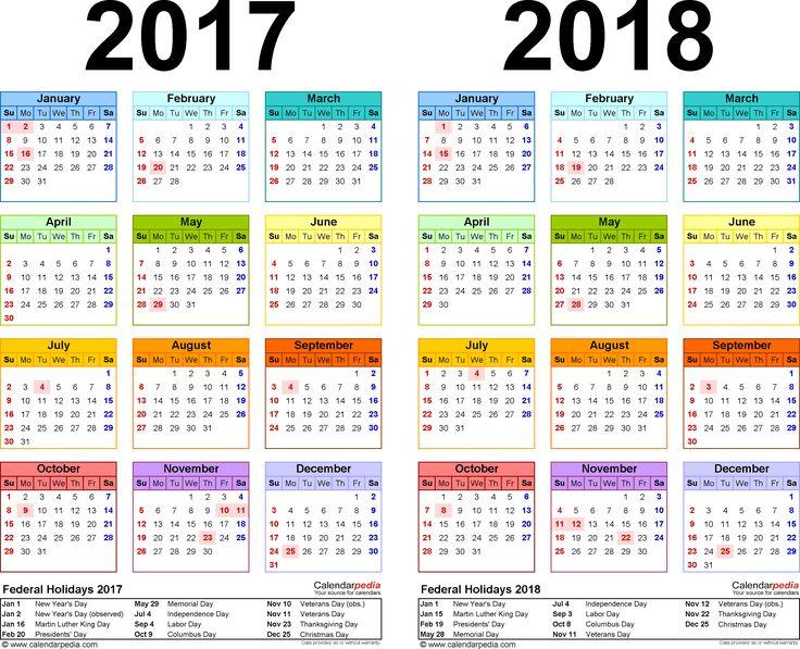 2017-2018 Calendar  -  free printable two-year PDF calendars