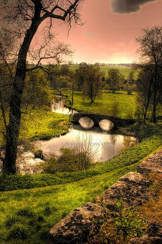 Bridge over the River Wye taken from Haddon Hall, Derbyshire