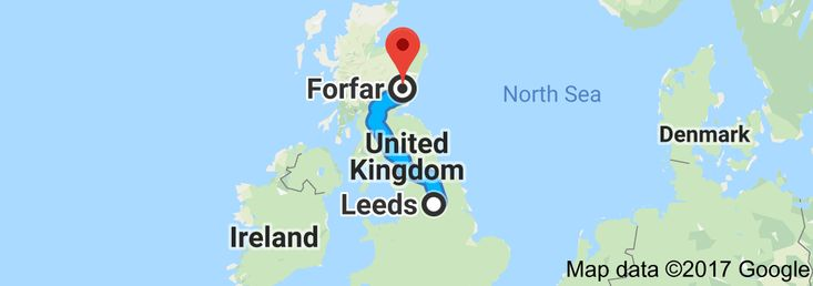 Map from Leeds, United Kingdom to Forfar, UK