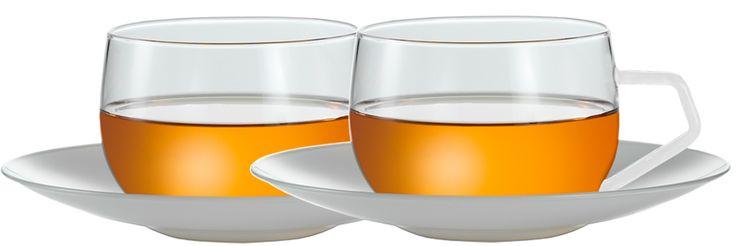 JENAER GLAS Tasse Dreams mit Untertasse, Weiß für Chai, 350 ml