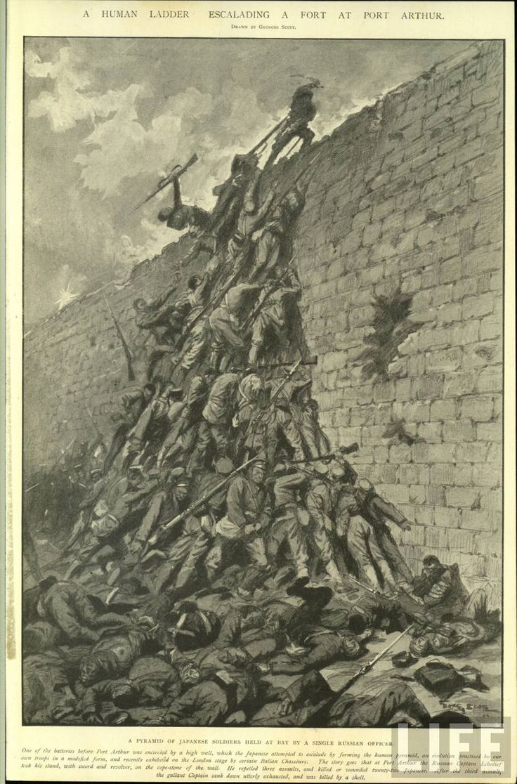 Human ladder escalating a fort at Port Arthur. Drawn by George Scott. (1904-1905 Japanese-Russo War) © Time Inc.