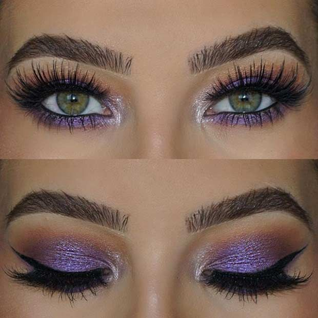 Purple Eye Makeup Look for Green Eyes
