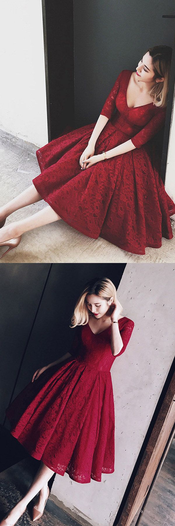 V Neck Half Sleeves Burgundy Lace Homecoming Dress Short Prom Dress,Homecoming Dresses,Short Prom Dresses,Prom Dresses,Party Dresses,Graduation Dresses