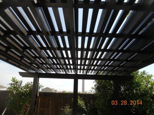 Lattice patio covers gives great shade to lounge under on those sunny afternoons!