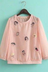 """Розовая шифоновая блузка с цветным принтом """"Женские лица"""""""