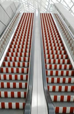 escalator to the fair in Leipzig Germany