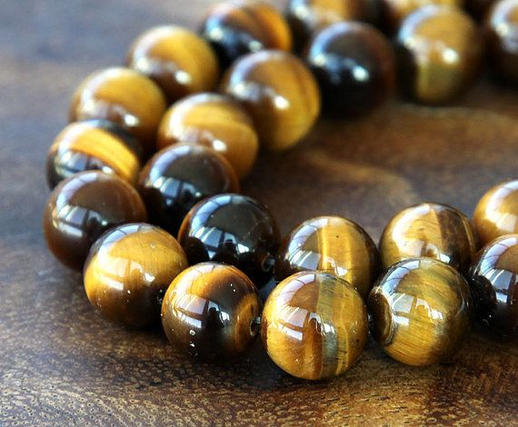 A Grade Tiger Eye Beads Honey Yellow 8mm Smooth by GoldenAgeBeads