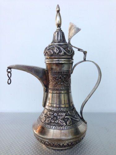 Solid-Silver-Islamic-Dallah-Arabia-Arab-Arabic-Arabian-Coffee-Tea-Pot-Turkish