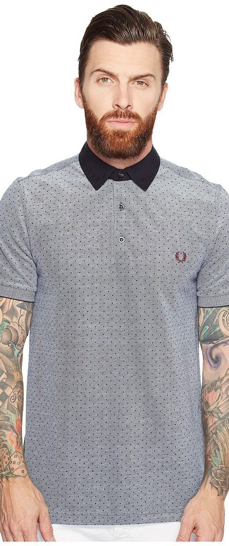 Fred Perry Polka Dot Oxford Pique Shirt (Dark Carbon Oxford) Men's Clothing - Fred Perry, Polka Dot Oxford Pique Shirt, M1574-302, Apparel Top General, Top, Top, Apparel, Clothes Clothing, Gift - Outfit Ideas And Street Style 2017