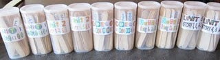 good for sight words, spelling, reading... just put them on sticks and place in empty Crystal Lite containers.. I have plenty of those...
