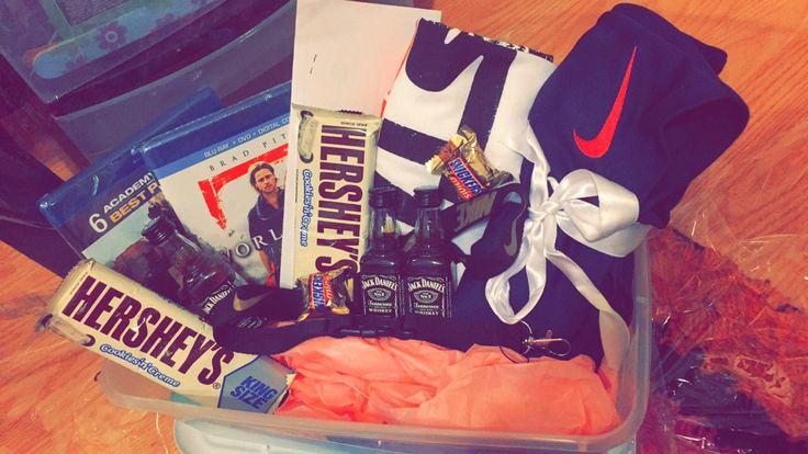 Boyfriend birthday basket! (Favorite movies in Blu Ray, preordered StarWars tickets, StarWars t-shirt, favorite candy, mini shots, Nike shorts and lan…
