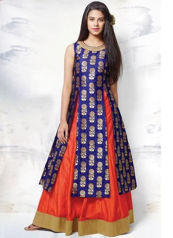 Blue & Orange Taffeta Jacquard Kids Salwar Kameez