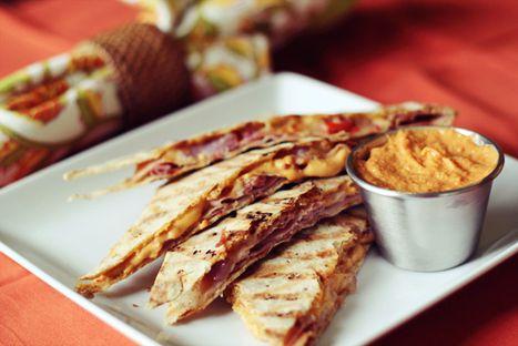 #Recipes - Ham & Cheese Quesadilla w/ Red Pepper Hummus