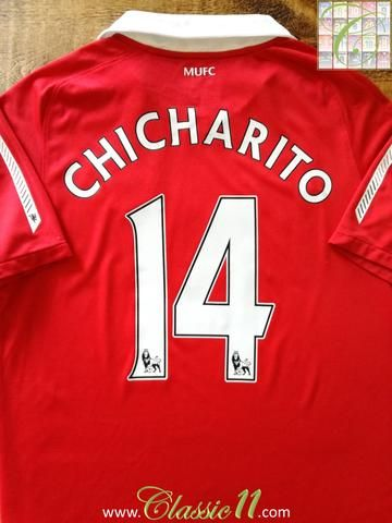 Official Nike Manchester United home football shirt from the 2010/2011 season. Complete with Chicharito #14 on the back of the shirt in Premier League lettering.