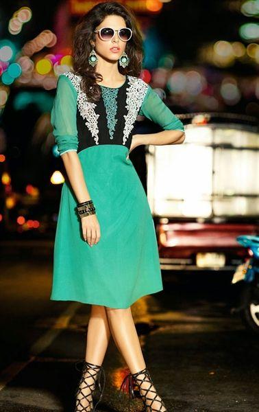 Picture of Tempting Sea Green Designer Tunics