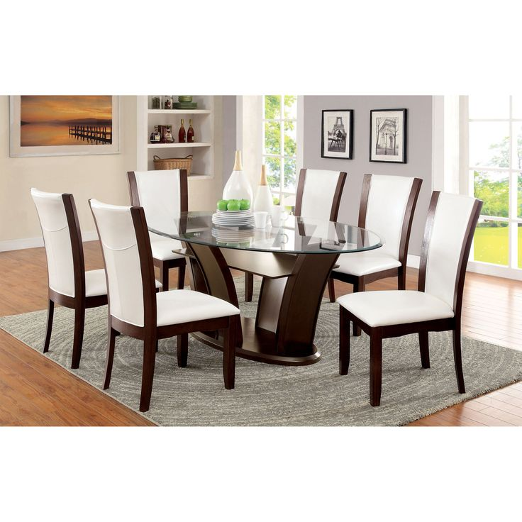 Contemporary Glass Dining Room Tables Beauteous Furniture Of America Okeho Contemporary Oval Glasstop Dining Decorating Inspiration