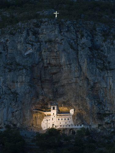 Ostrog Monastery, Ostroška Greda, Montenegro. Monastery of the Serbian Orthodox Church,  high up in the large rock.
