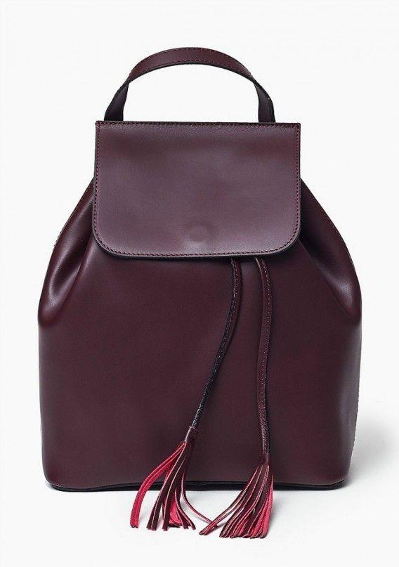100 % skórzana Włoska Torba Plecak Bordo Oryginalna torba damska (plecak) włoskiej produkcji (Vera Pelle) wykonana ze skóry naturalnej najwyższej jakości. Skóra gładka, miła w dotyku. Nie odkształca się i nie zagina, dzięki czemu przez cały czas ma niezmi