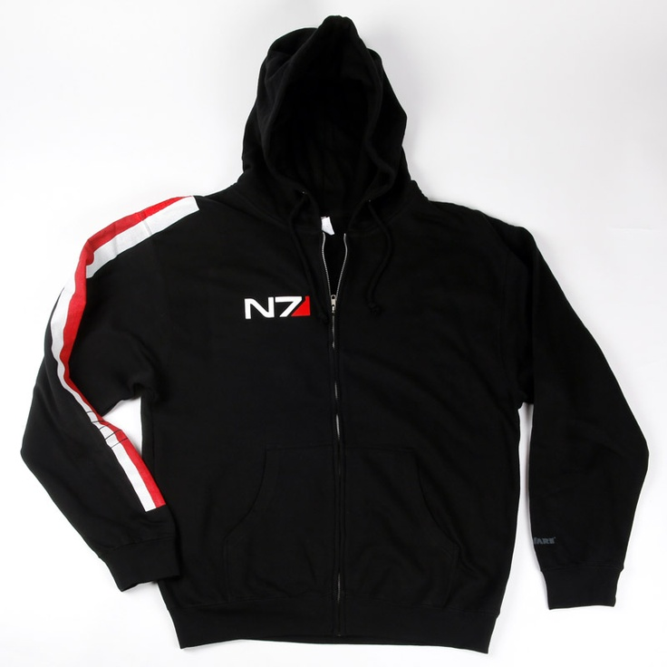 N7 Armour Stripe Lightweight Hoody    Printing: Black full-zipper hoody with armour stripes down right arm. N7 logo on right breast. Custom silk screen print.    Fabric: Lightweight 8.5 oz. 80% Cotton/20% Polyester Blend Fleece. Jersey lined hood, heavy gauge drawcord with metal eyelets and 1x1 ribbing at cuff.