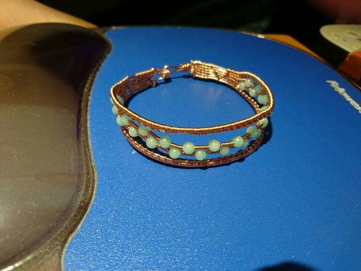 Copper wire and jade bracelet