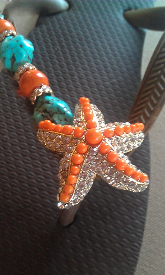 Starfish Flip FLop filled with crystals and coral stones..EACH PAIR MADE TO ORDER! by Flipinista Your BFF