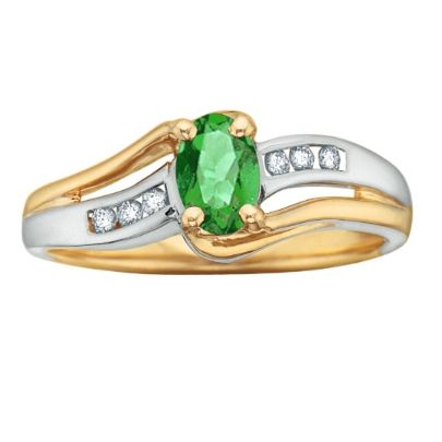 9ct 2 Colour Diamond Emerald Fancy Ring 51T37-5-9 from The Jewel Hut Collection at £225.00