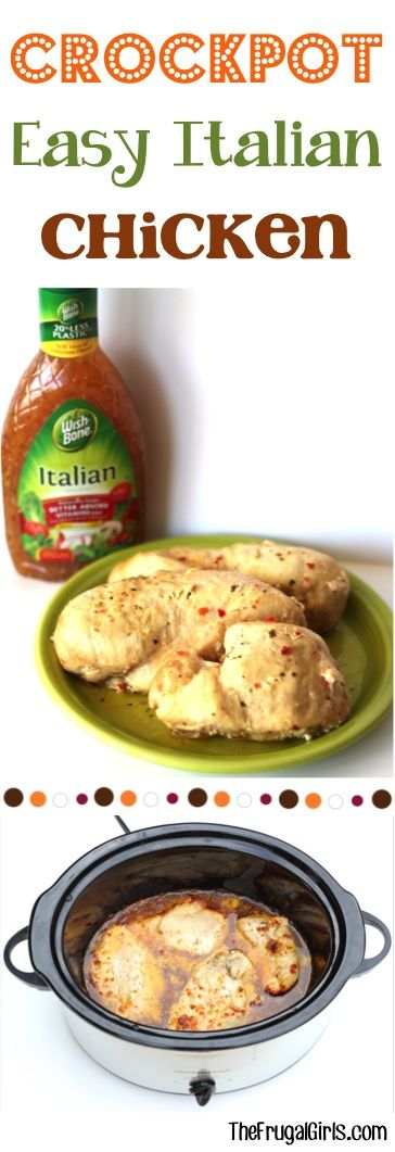 Easy Crockpot Italian Chicken! ~ from TheFrugalGirls.com ~ this delicious Slow Cooker dinner is almost too easy and SO yummy! The perfect go-to meal! #slowcooker #recipes #thefrugalgirls